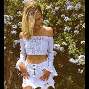 LF white crochet bell sleeve off shoulder crop top